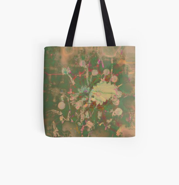 Fractalized floral abstraction All Over Print Tote Bag