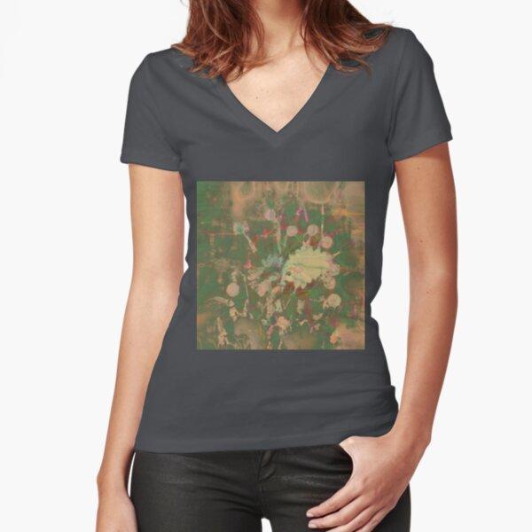 Fractalized floral abstraction Fitted V-Neck T-Shirt