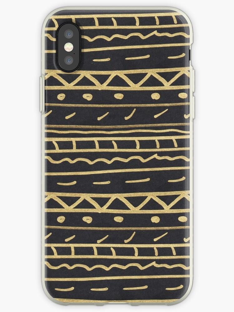 Elegant black gold paint hand made aztec by Maria Fernandes