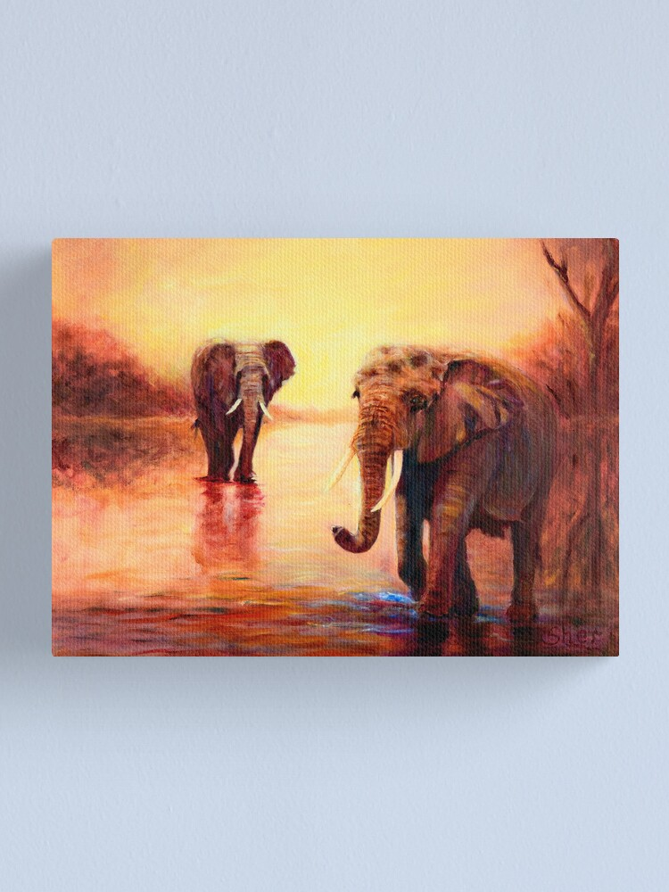 Alternate view of African Elephants at Sunset Canvas Print