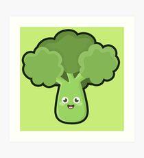 Kawaii Broccoli Art Print
