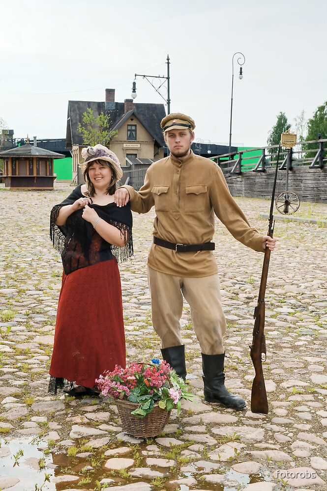 Couple of lady and soldier in retro style picture by fotorobs