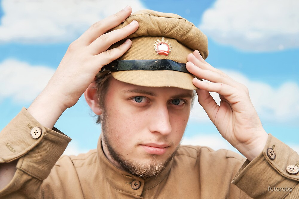 Portrait of soldier in retro style picture by fotorobs