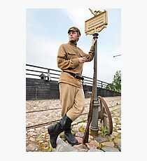Retro style picture with soldier at tram stop. Photographic Print