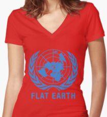 Camiseta entallada de cuello en V Tierra plana