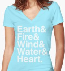 Earth&Fire&Wind&Water&Heart (White) Women's Fitted V-Neck T-Shirt
