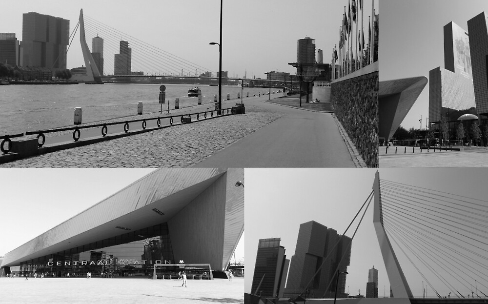 Photo collage Rotterdam 4 in black and white by kultjers