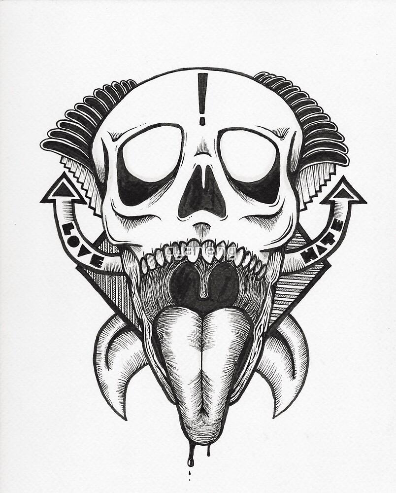 Love Hate Skull Art Print by cyaneng