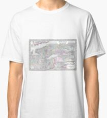 Camiseta clásica Vintage Map of NYC and brooklyn (1867)