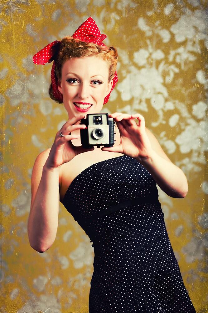 1940's woman using a camera by Sharonroseart