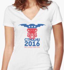 Vote Cthulhu for President 2016 No Lives Matter Women's Fitted V-Neck T-Shirt