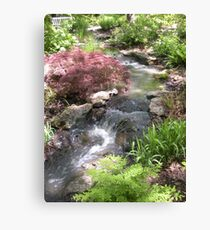 Bubbling Brook in the Garden Canvas Print