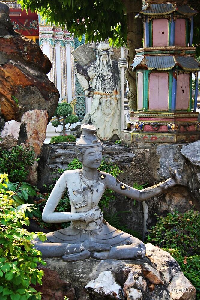 Garden Sculpture and Guardian, Bangkok, Thailand by kojak67