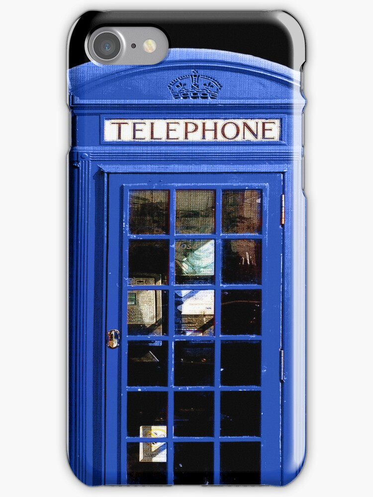 Blue British Phone Booth iPhone Case by Mark Tisdale