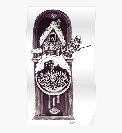 New Year clock surreal black and white pen ink drawing Poster