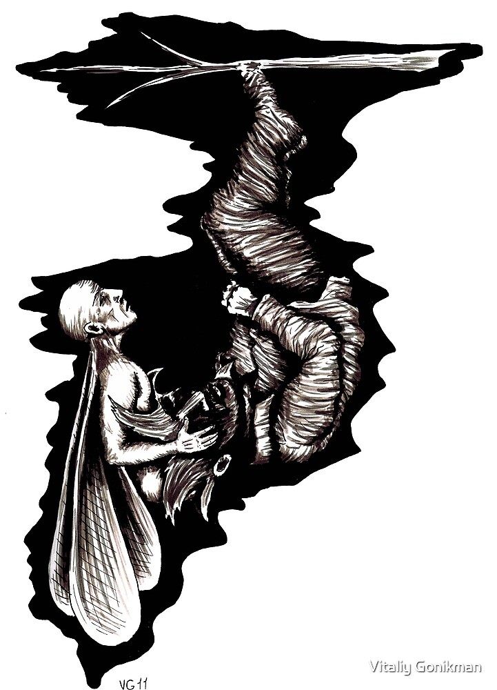 Rebirth surreal black and white pen ink drawing by Vitaliy Gonikman