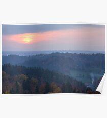 View across Gorenjska at sunset Poster