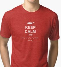 Keep Calm and Carry On - Morse Code T Shirt Tri-blend T-Shirt