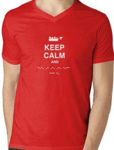 Keep Calm and Carry On - Morse Code T Shirt Mens V-Neck T-Shirt