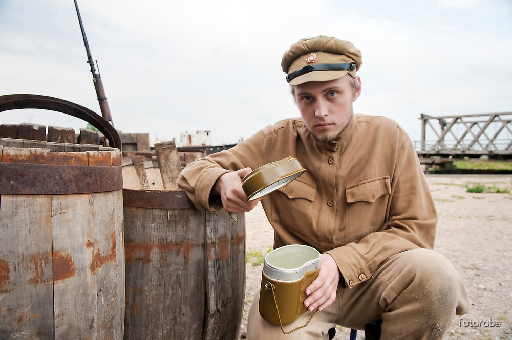 Soldier with boiler in retro style picture by fotorobs