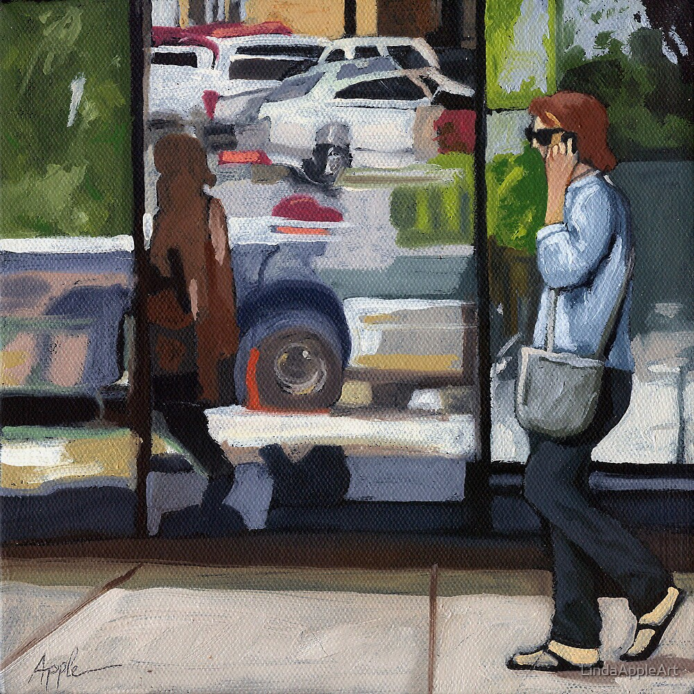 City Reflections - figurative cityscene oil painting by LindaAppleArt