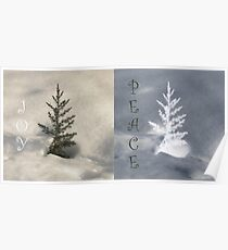 Two Little Trees Wish Joy and Peace Poster