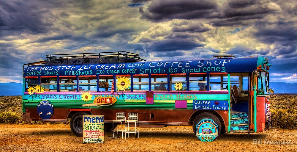 Solar Ice Creme Bus -- Taos, New Mexico by Bill Wetmore