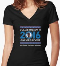 Goldie Wilson III for President 2016  Women's Fitted V-Neck T-Shirt