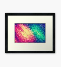 Abstract Polygon Multi Color Cubism Low Poly Triangle Design Framed Print