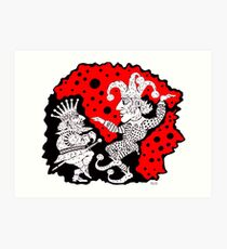 King and Joker surreal black and white and red pen ink drawing Art Print