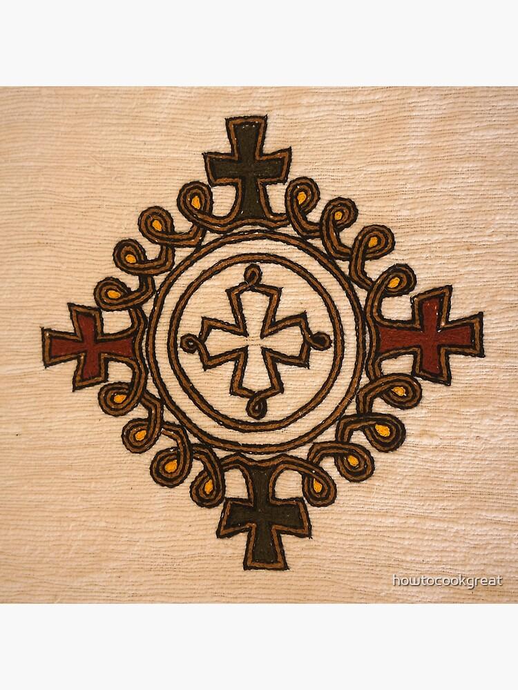 Ethiopian Cross Design - Fabric   Greeting Card