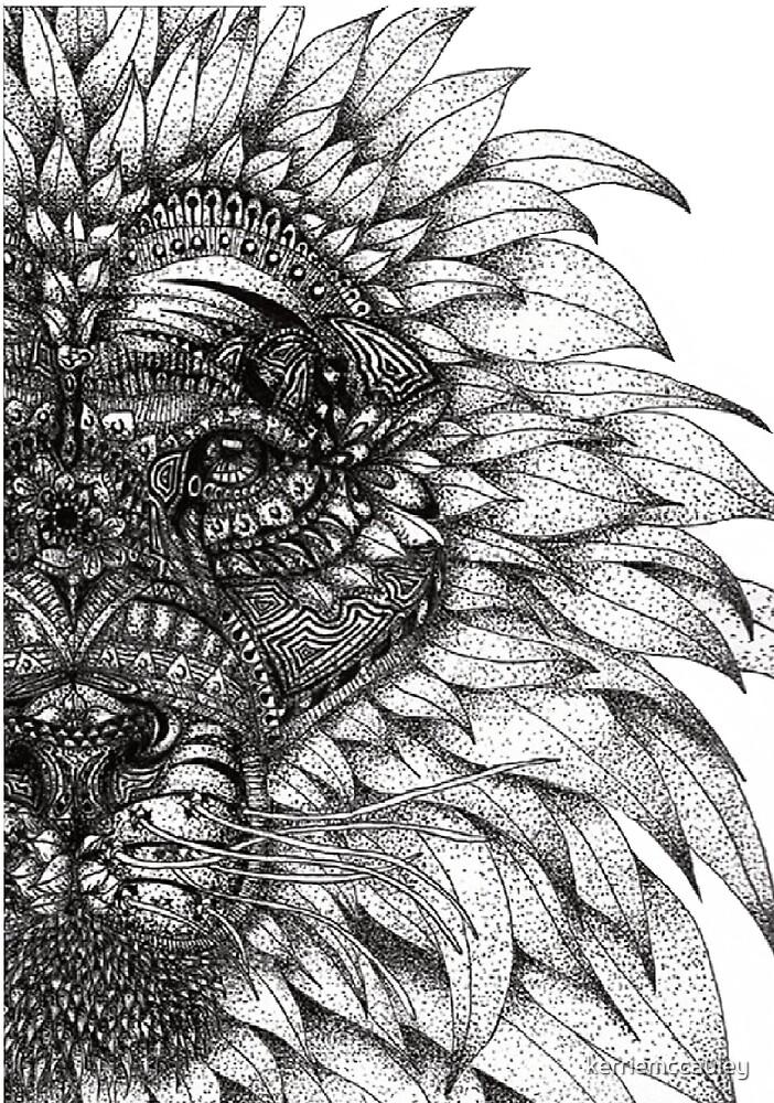 Zentangle Lion by kerriemccauley