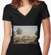 Johannes Läpple Heilbronn Zukerfabrik Eberhard Emminger Ca 1855 Farbig Women's Fitted V-Neck T-Shirt