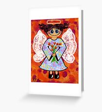 Groovey Angel - She's a hippy chick! Greeting Card