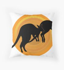 Kangaroos Running Throw Pillow