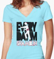 Everyday I'm Shamblin' (reverse) Women's Fitted V-Neck T-Shirt