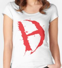 Diamanda Hagan D-H Logo (Red) Women's Fitted Scoop T-Shirt