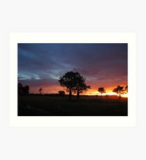 Sunset on King River - East Kimberley  Art Print