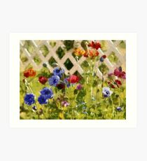 Array of flowers taken in mums garden with painterly effect Art Print