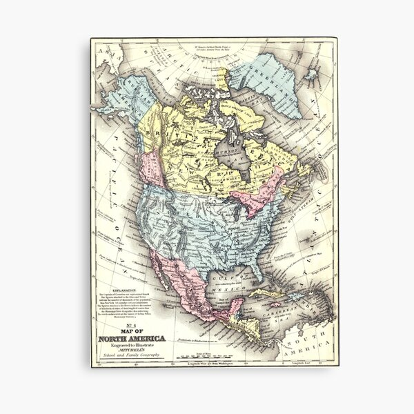 Old World Map of North America Canvas Print