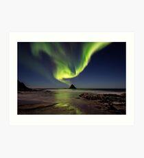 Northern lights over Bleik island Art Print