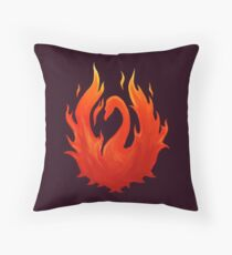 Swan on Fire (Color) Throw Pillow