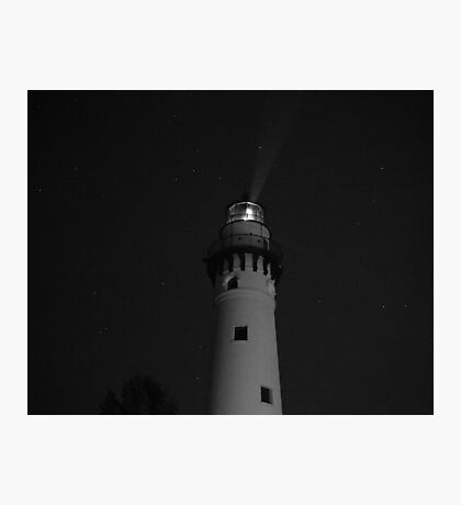 Lighthouse at Night Photographic Print