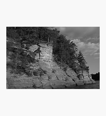 Sandstone Formation in Black and White Photographic Print