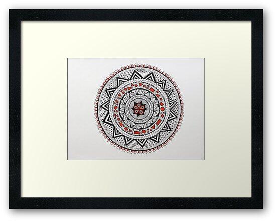 Mandala/13 - Red, Black, White by EllenGambrell