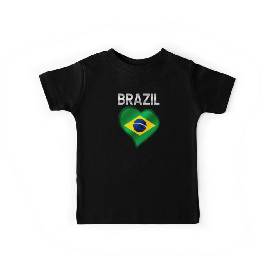 Brasilien - Brasilianische Flagge Herz & Text - Metallic von graphix