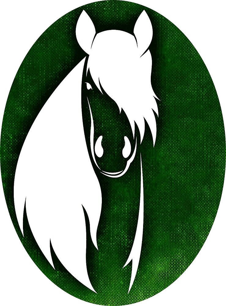 Horse drawing in green by mosfunky