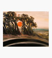 Sunset and Cypress and Highway 1 Photographic Print