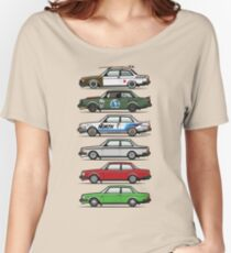 Stack Of Volvo 242 240 Series Brick Coupes Women's Relaxed Fit T-Shirt
