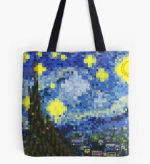 8-bit Starry Night Tote Bag